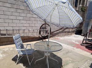 Juego de jardin, mesa 4 sillas sombrilla jardin / patio