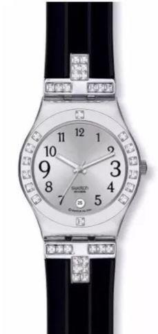 Reloj swatch yls430c mujer negro malla goma con strass usado