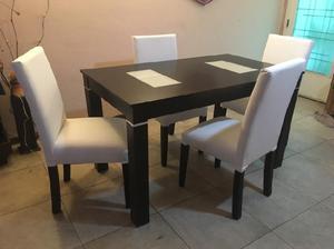 Mesa comedor laqueada 140x80cm 4 sillas
