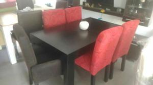 Mesa minimalista y 6 sillas chenille