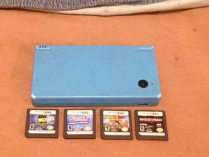 Nintendo dsi c/cargador y 4 juegos - pantalla superior rota