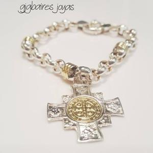 Pulsera de plata 925 rolo y oro con dije cruz de san benito