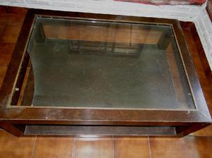 Mesa ratona madera y bronce