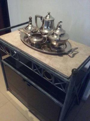 Regia mesa de tv o mesita bar con marmol