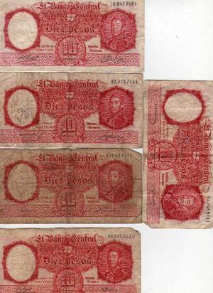 Billetes argentino antiguos de san martín de 10 pesos