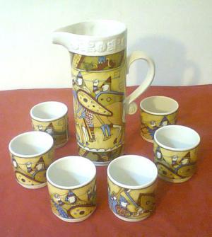 Antiguo juego cervecero de cerámica ancers