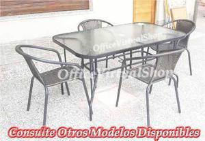 Juego de jardin exterior mesa + 4 sillas rattan en Argentina ...