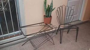 Juego jardín hierro antiguo.sillón mesa forjado