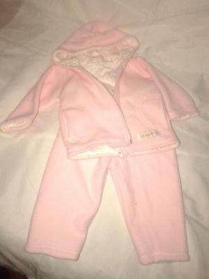 Campera pantalon polar antipeeling reversible forrado rosa