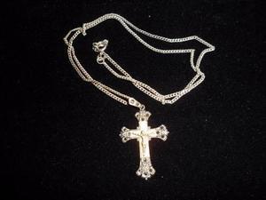 Antigua cruz en plata con marquesitas cristo dorado (c.1932)