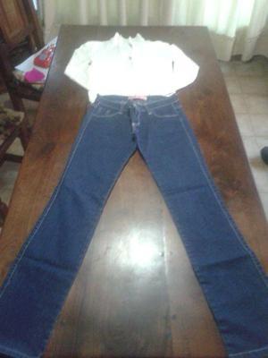 Art 85.¡impecable! pantalon de jeans y saquito hilo