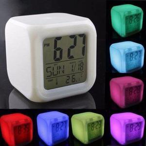 Reloj despertador temperatura digital luz color - la plata