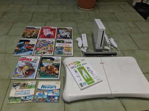 Nintendo wii original 2 controles + balanza + 11 juegos