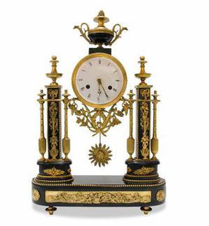 Antiguo reloj francés luis xvi en bronce y mármol negro