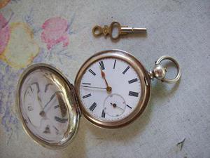 Magnifico reloj bolsillo plata a llave 3 tapas.inmaculado!