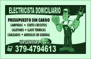 Electricista domiciliario 24hs
