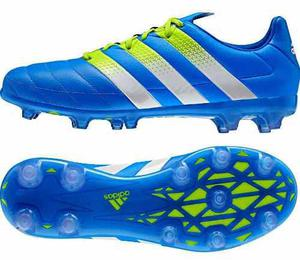 Botines adidas ace 16.2 fg ag blue/white/solar cuero premium