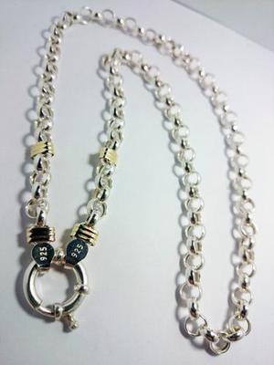 Cadena y pulsera plata 925 y oro rolo 7mm garantia