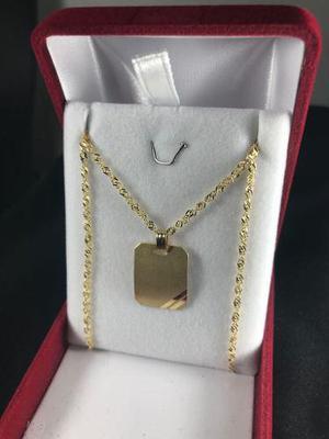 1dce3567877e Conjunto medalla y cadena oro 18k grande con grabado hombre