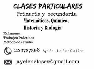 Clases para primaria y secundaria (matematicas, qca,