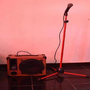 Amplificador portatil recargable microfono shure pie cable