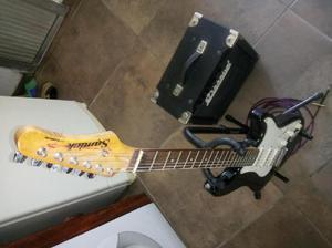 Kit guitarra eléctrica samick amplificador decoud 20w acc