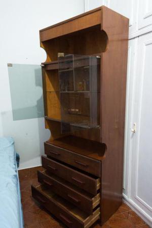 Mueble modular estante cristalero y 4 cajones con luz