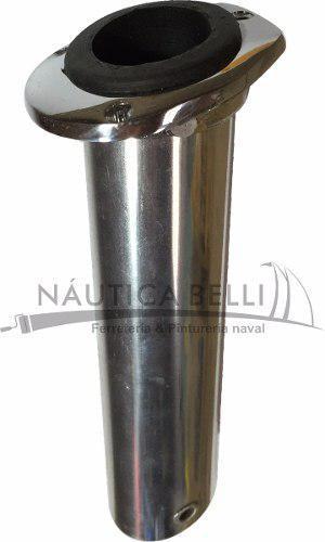 Posa caña para embutir de bronce cromado con tapa - nautica