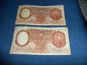 2 billetes antiguos, argentinos, correlativos. muy buen