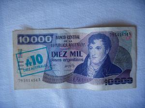 Billete de argentina 10000 $a serie a 10 australes