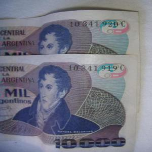 Billetes de argentina consecutivos 10000 $a serie c 10 a