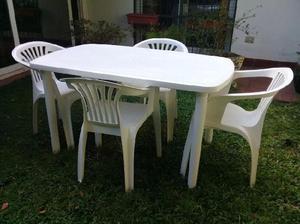 Juego de mesa y silla para jard n de pl stico reforzada en for Sillas de plastico para jardin