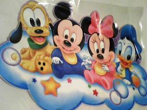 Sticker de pared con bebes mickey, minnie, donald y pluto