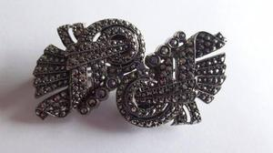 Broche antiguo doble prendedor plata 935
