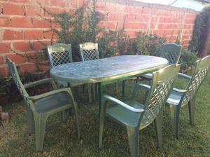 Mesa plastico sillas clasf for Mesa plastico jardin