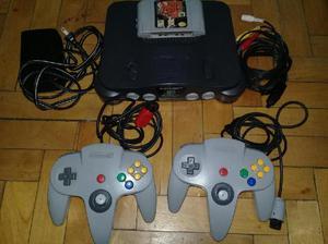 Consola de nintendo 64 cables 2 joysticks 2 juegos