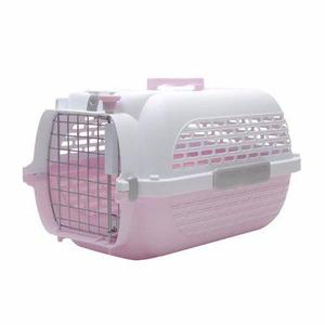 Jaula transportadora (57x38x31) rosa para perros y gatos
