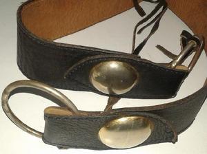 Cinturon negro cuero perfecto largo 80 ancho 5cm