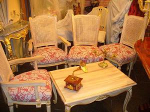 Juego de sillones luis xv y sillas luis xvi mesa luis xvi