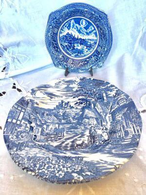 Porcelana inglesa tradicional antigua azul impecable estado