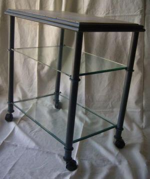 Mesa de tv de hierro patinado azul con tapa de marmol