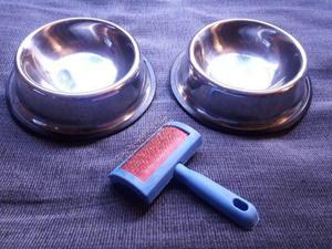 Dos comederos de acero inoxidable cepillo, para gato o perro