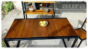 Juego de comedor mesa y sillas de hierro y madera modelo