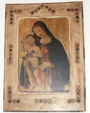 Lamina religiosa italiana antigua sobre marco de madera
