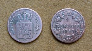 Moneda de 1 kreuzer de plata, baviera, alemania 1853