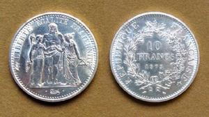 Moneda de 10 francos de plata francia 1973