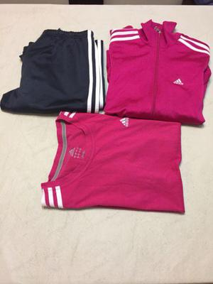 Conjunto Adidas talle S amplio color fucsia, campera,
