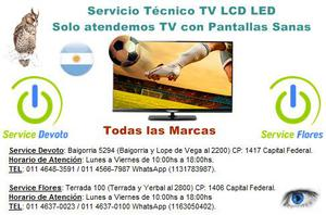 Reparación servicio técnico tv lcd led smart todas las