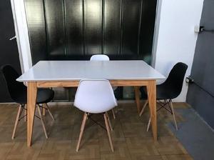 Mesa comedor estilo escandinavo nordico laqueada blanca o en ...