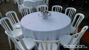 Alquiler de sillas, tablones y manteles 2,50 mtrs. mesas